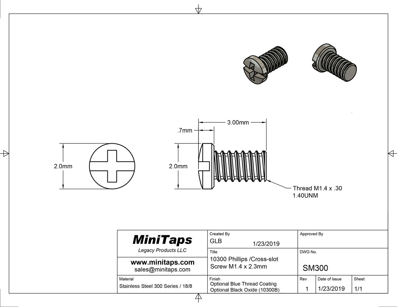 Thread M1.4 pitch .30mm  Length 2.3mm, Machine Screw Pan Head with Philips X-Slot drive overall length 3.0mm stainless steel  100 count package