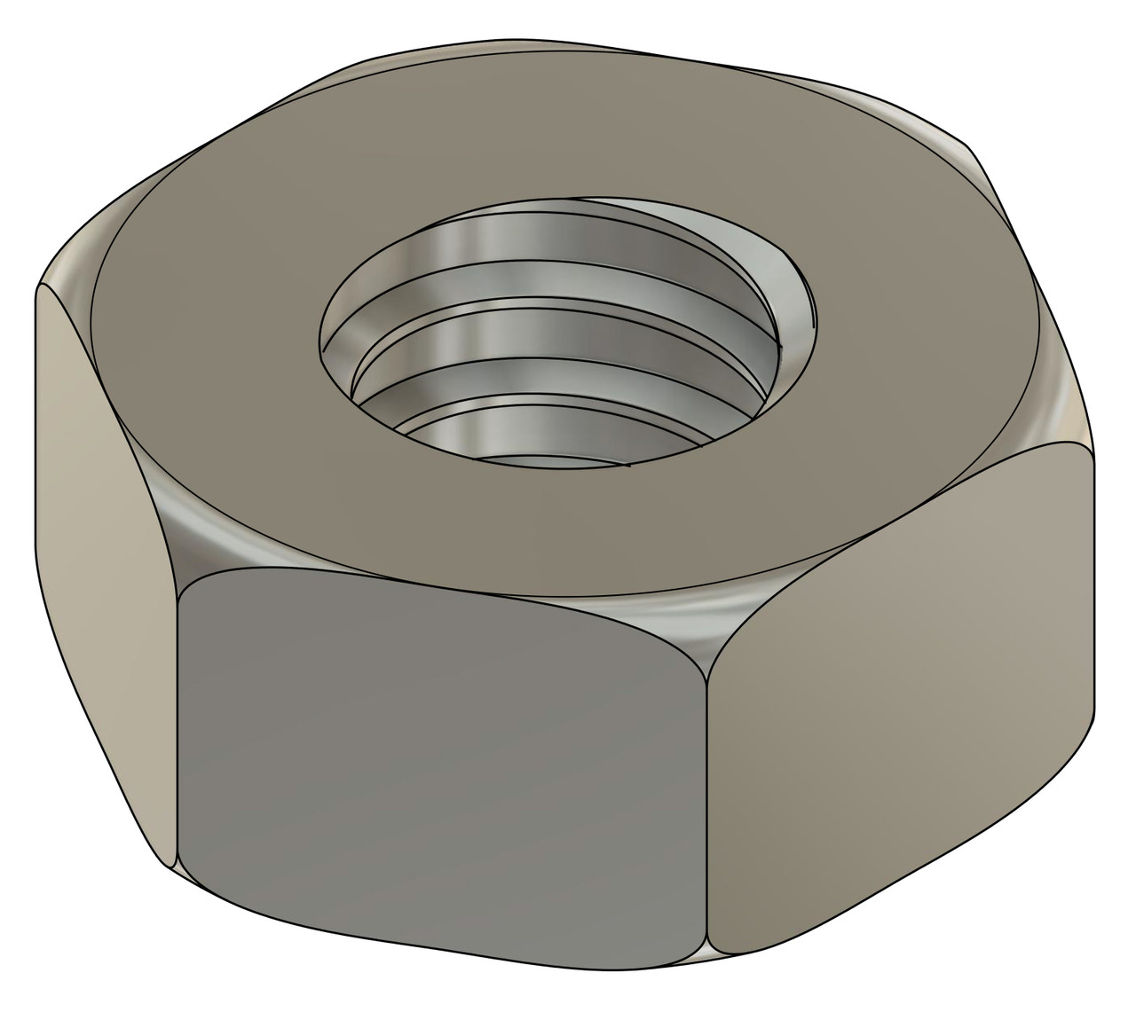 """Machined Hex Nut Thread 00-90 ACF 3/32"""" (across the flats) 2.25mm / .089"""" Thickness .041"""" / 1.05mm Material: Stainless Steel Part Color Finish is Silver Price is for 100 count package"""