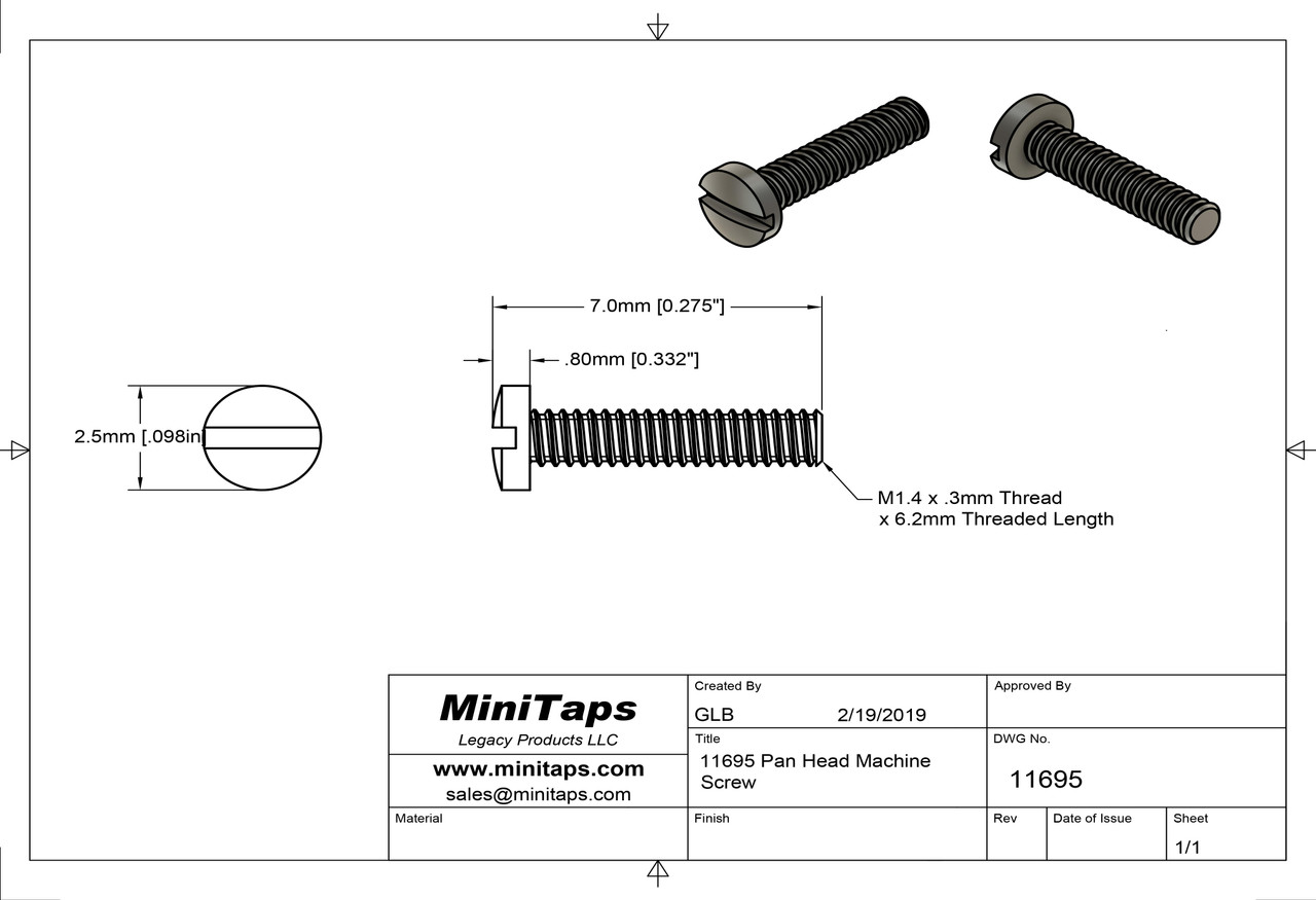 Machine Screw, Pan Head  Thread M1.4 (1.40UNM,) Pitch .30mm, Overall Length (OAL) 6.9mm, Threaded Length (Shank) 6.2mm, Head 2.5mm  Stainless Steel, Finish Color Gold.  Made on precision screw machines.  This part is a modified NAS-722-140-250  Price is for 100 count package with bulk pricing available. Please contact sales@minitaps.com for bulk pricing pricing or any additional questions or information.