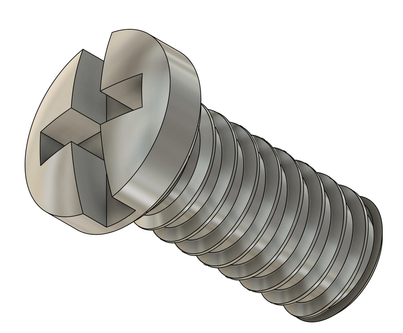 Thread M1.4 pitch .30mm length 2.7mm Machine Screw Pan Head with Philips X-Slot drive overall length 3.5mm material stainless steel, 100 count package