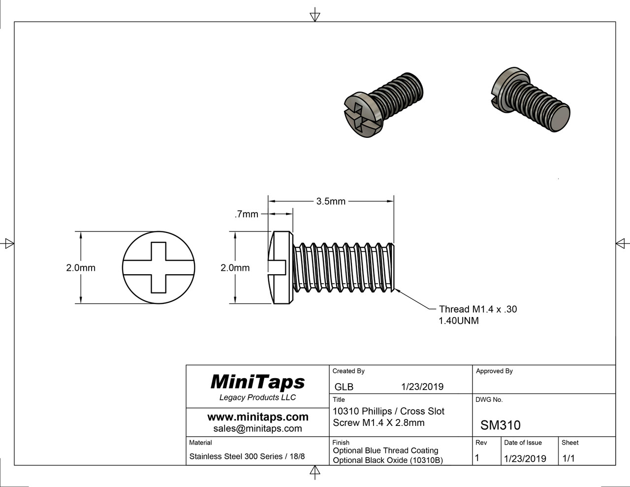"""Machine Screw Pan Head with Philips X-Slot Drive  Thread M1.4, Pitch .30mm, Overall Length 4.0mm, Threaded Length 3.20mm (Equivalent to 1/8"""")  Stainless Steel  Optional coated thread to help prevent screw from working loose.  Price is for 100 count package with bulk pricing available.  Please contact sales@minitaps.com for any additional questions or information."""