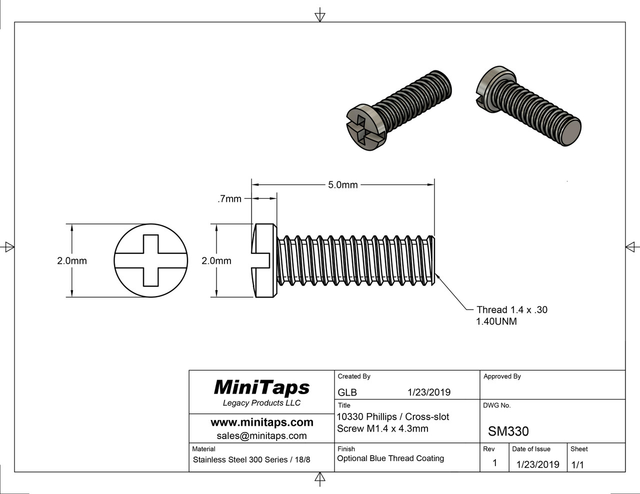 """Machine Screw Pan Head with Philips X-Slot Drive  Thread M1.4, Pitch .30mm, Threaded Length 4.3mm, Overall Length 5.0mm, Head 2.0mm  Stainless Steel  This item is available in three variations 1) Bare stainless steel, 2) Stainless Steel dyed """"Black"""" and 3) stainless steel with coated thread. If not specified we send the screws with coated thread.  Price is for 100 count package with bulk pricing available.  Please contact sales@minitaps.com for any additional questions or information."""