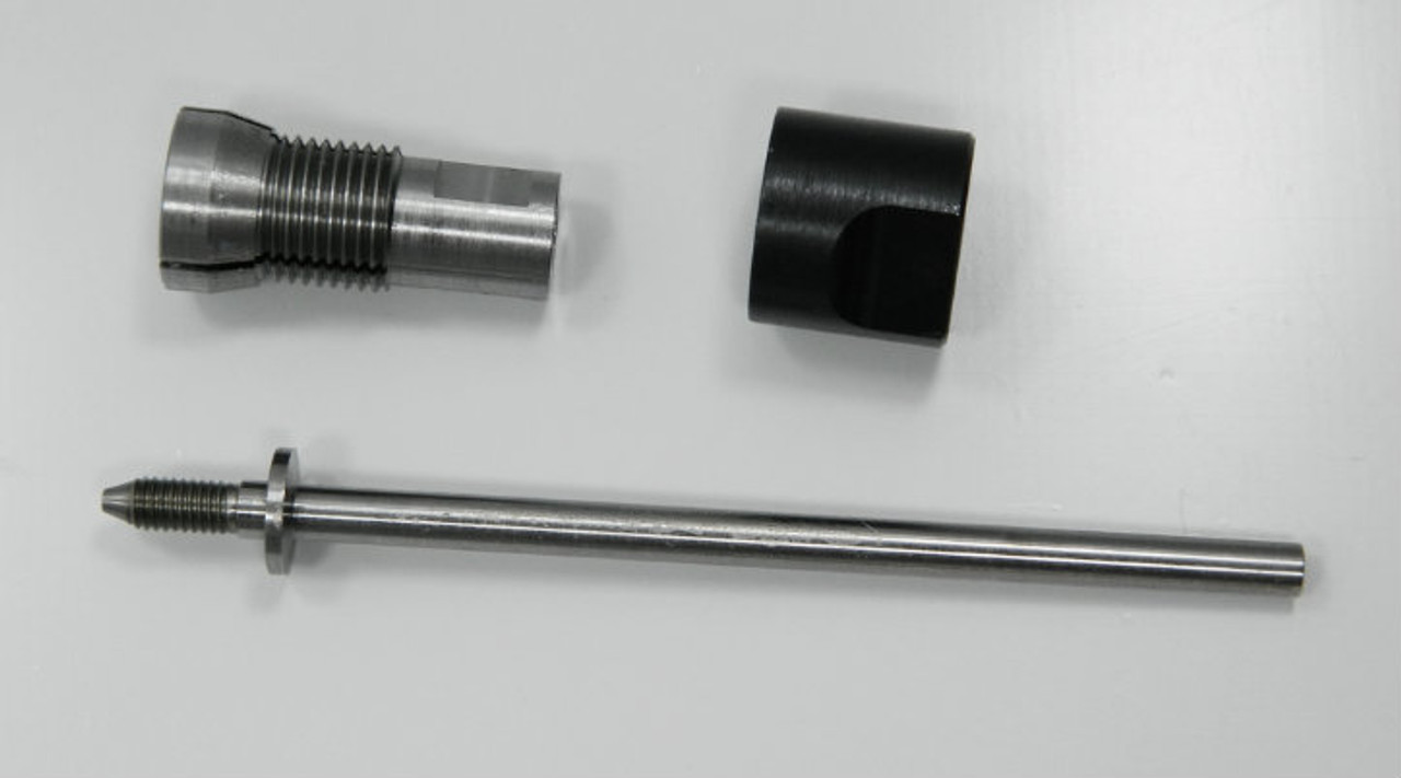 """Holder for Roll Dies with 8.0mm outside housing diameter generally fitting thread sizes M.8 to M1.3 Non-Adjustable, Habegger brand, HSS for die Body diameter 8.0mm. Assembly consisting of: Shaft, Body and Closure Cap. Only 1 in stock generally this item is a """"Special Order"""" lead time 2- 4 weeks.  We can supply a die hold for any roll die we sell."""