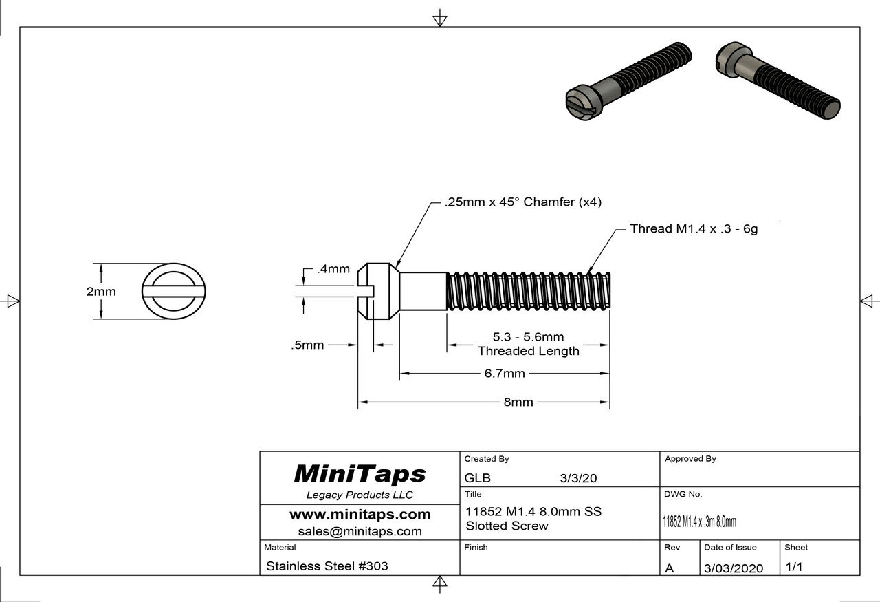 """Machine Screw, Pan Head Thread M1.4 (1.4UNM) Pitch .30mm Overall Length (OAL) 8.0mm Head 2.0mm) Stainless Steel, Finish Color """"Silver"""" Made on precision screw machines Price is for 100 count package"""