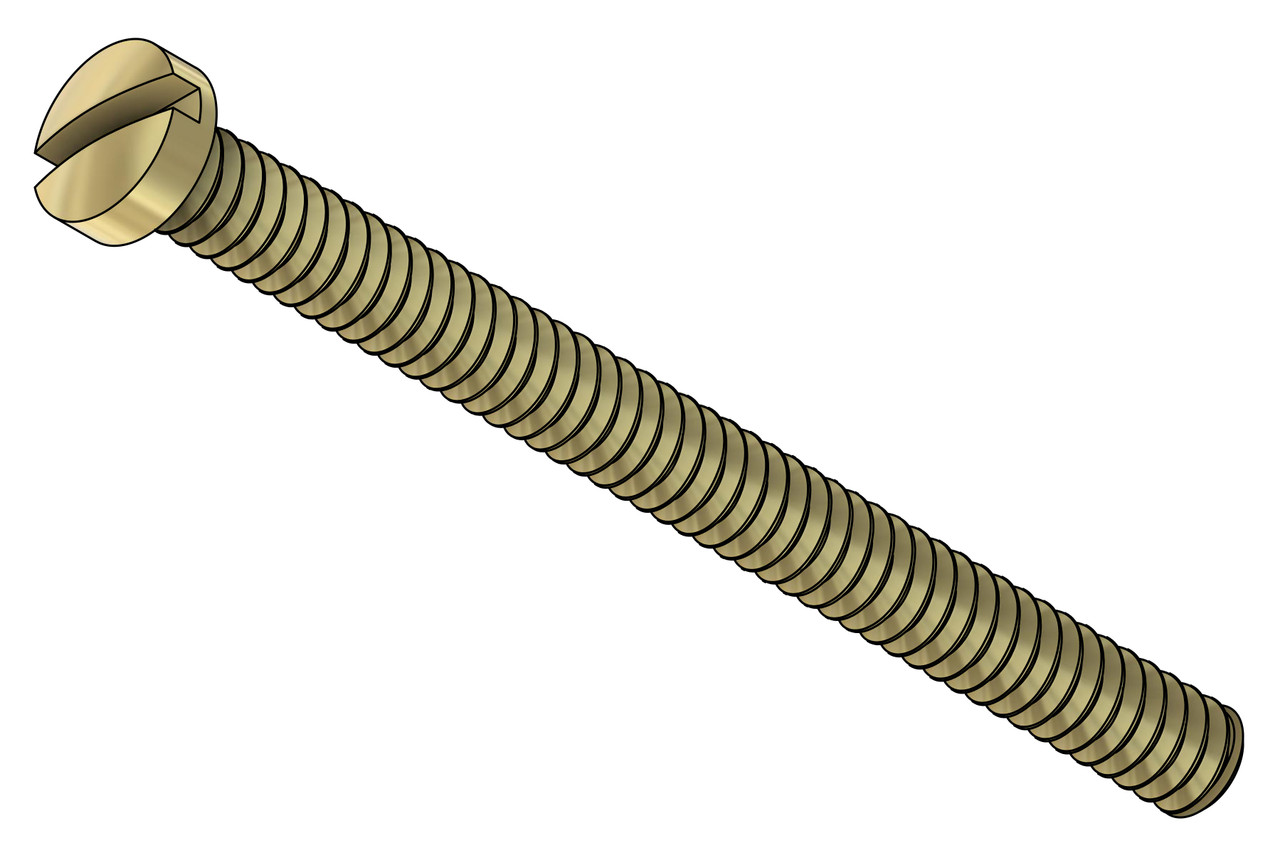 "Machine Screw   Thread 00-90 (0.046"",) Head Diameter .075"", Overall Length (OAL) .591"" (15.1mm,) Threaded Length 9/16""   Material: Nickel Silver, a premium copper alloy resistant to tarnish often used in jewelry and eyewear.   Part Color Finish is Gold   Matching Hex Nut #11101G       Price is for 100 count package with bulk pricing available. Please contact sales@minitaps.com for bulk pricing pricing or any additional questions or information."