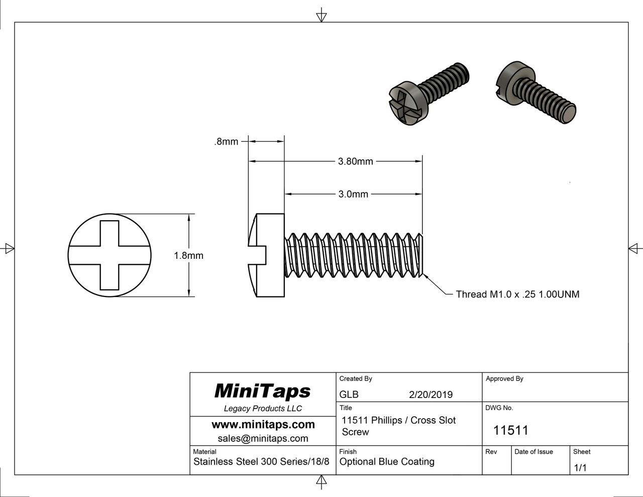 Machine Screw Pan Head Slotted with Phillips (Cross-Recess) Drive Thread M1.0 (1.00UNM,) .25 Pitch Threaded Length 3.0mm Overall Length 3.8mm Head 1.8mm Stainless Steel, Silver Finish. Made on precision screw machines. Price is for 100 count package