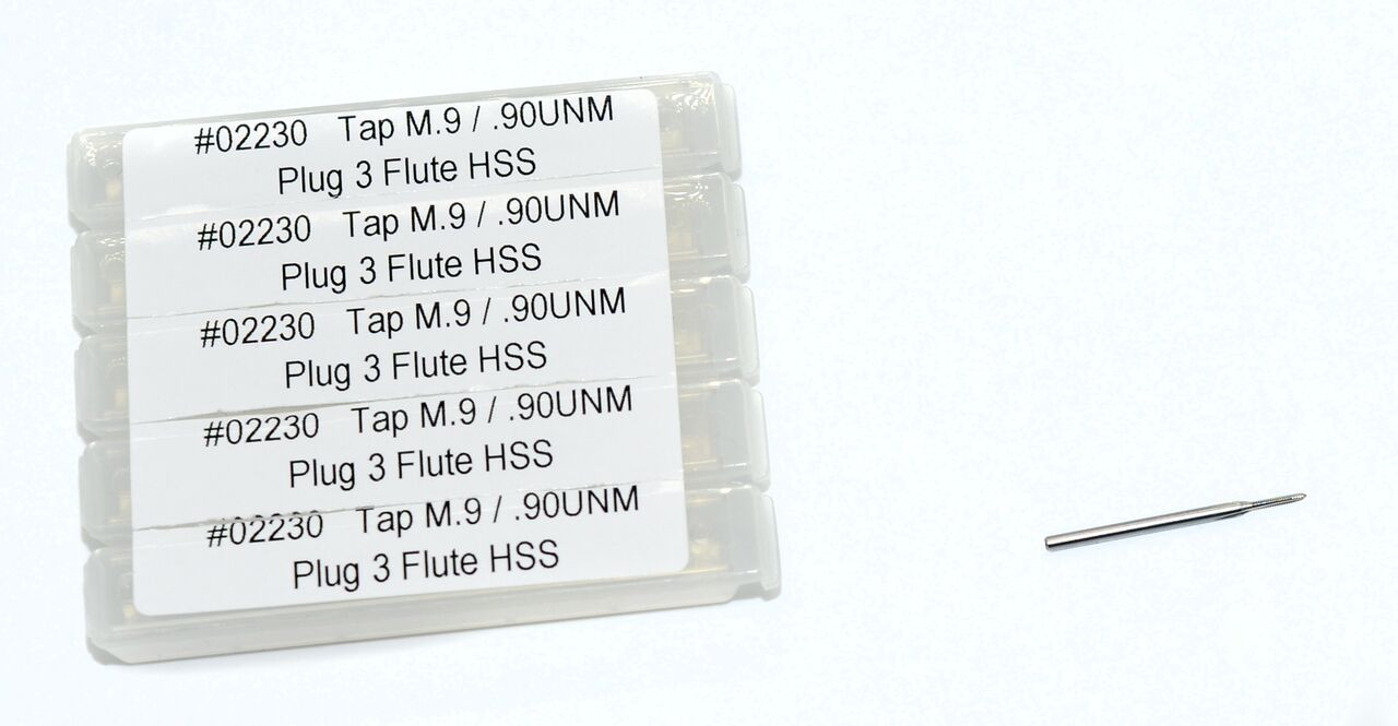 """M.90 Tap, aka: M.9 & .90UNM Tap design:  3 flute Plug made to DIN standards thread pitch 0.225mm threading length approximate 4.0mm, Shank 0.060"""" made from """"HSS""""  hardened high speed steel our taps are designed for production taping in Automatic screw machines, Tappers, CNC lathes and CNC mills.  Image is representative of the item for sales. Overall length of Tap is 25mm (.984"""") threaded length (tip to end of thread) 4.0mm (0.160"""") lengths can vary slightly between batches.  Price listed is for 1 to 9 pieces."""