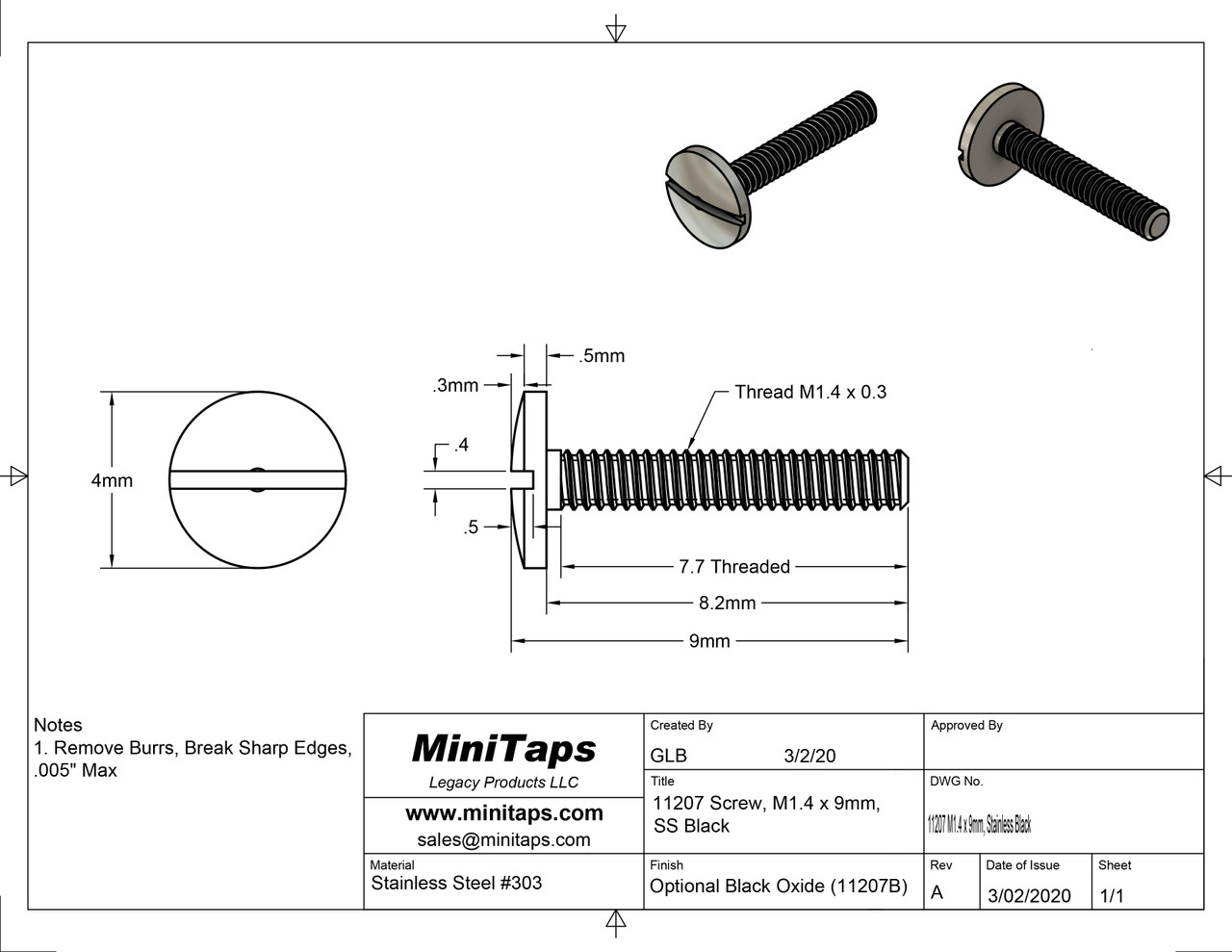Machine Screw Special  Thread M1.4, Pitch .30mm, Head Diameter 4.0mm (Large Head diameter), Threaded Length 8.2mm (Max), Overall Length 9.0mm  Material Stainless Steel, Finish Color Black Oxide  Price is for 100 count package with bulk pricing available. Please contact sales@minitaps.com for bulk pricing pricing or any additional questions or information.