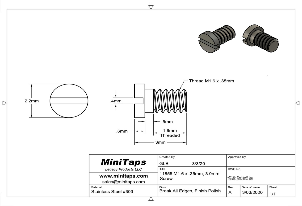"""Machine Screw Special, Small Head Thread M1.6 (1.60UNM) Pitch .35mm Overall Length (OAL) 3.0mm Threaded Length (Shank) 2.4mm Head 2.2mm (Thread major on low end of limit gages OK Go Gage and two turns on No-Go gage) Stainless Steel, Finish Color """"Silver"""" Made on precision screw machines. Price is for 100 count package"""