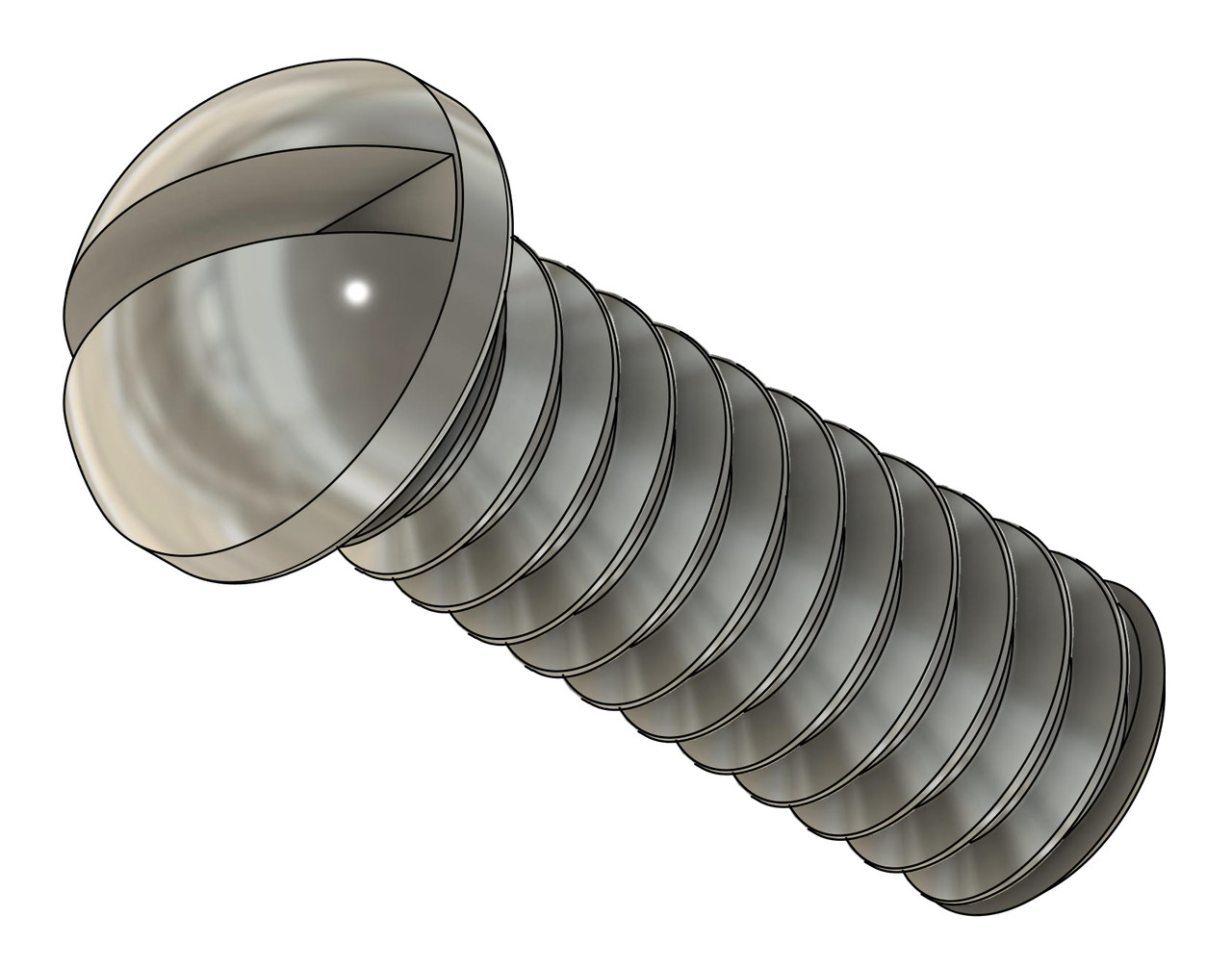 Machine Screw Round Head,  Thread M1.2x.25mm (1.20UNM} Head Diameter 1.7mm, Overall Length 4.0mm  Material: Stainless Steel, Finish Color Silver