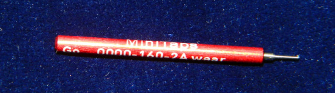 Wear Check Plug Go-Gage to calibrate a Thread Ring Go Gage 0000-160 Class NS 2A; Precision Thread Gage made of High Speed Steel then hardened. The picture is of the gage in our stock.      Brand is; MiniTaps made to our specification in Switzerland. A long form gage certification is included in the price of this gage.