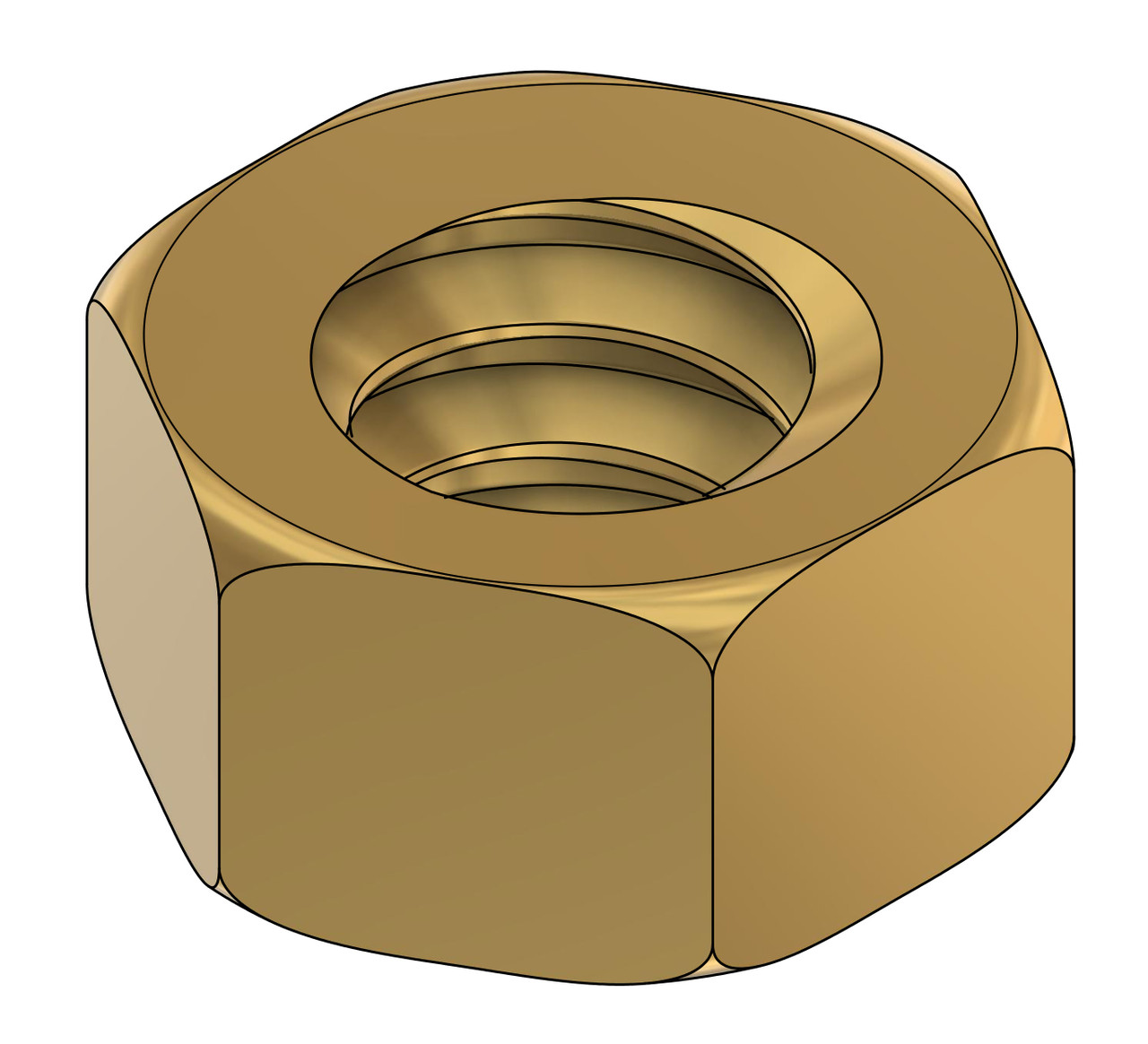 """Machined Hex Nut, Metric Thread M.80 x .20mm Pitch, also fits .80UNM, ACF (across the flats) 3/64"""" / 0.047"""", Material: Brass #360. Packaged price per 10 pieces. Bulk pricing available, email sales@minitaps.com"""