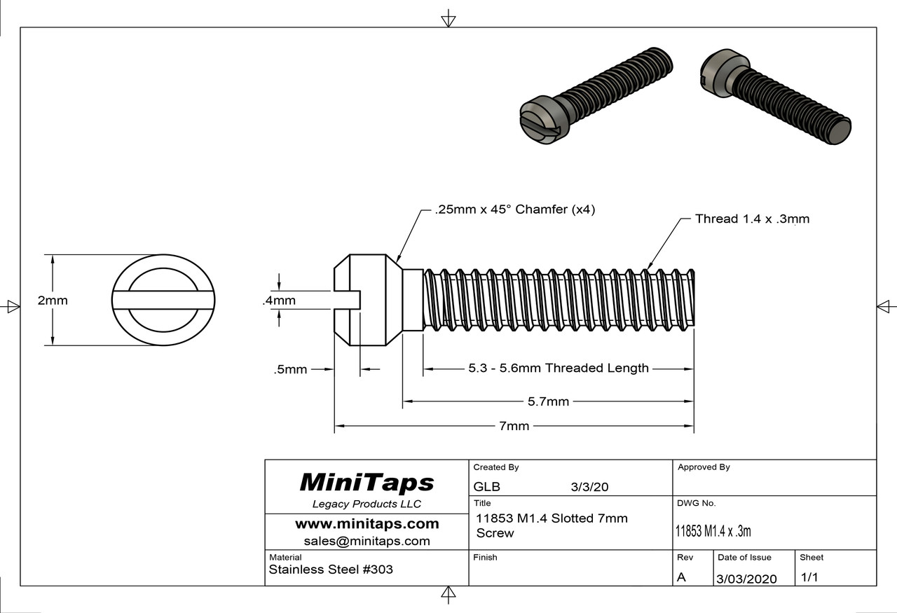 Machine Screw, Modified Fillister Head Thread M1.4 (1.4UNM) Overall Length (OAL) 7.0mm Threaded Length (Shank) 6mm Head 2.0mm Stainless Steel, Finish Color Silver Made on precision screw machines. Price is for 100 count package