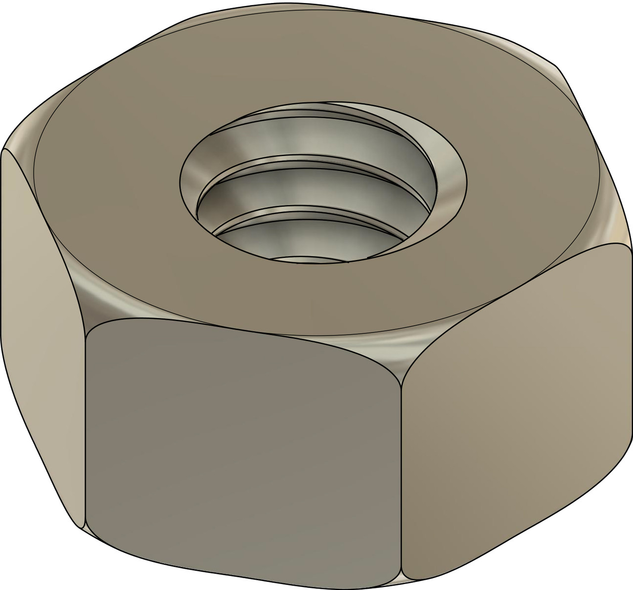 """Machined Hex Nut Standard Thread M1.2 (1.20UNM) 2.25mm / .089"""" ACF (Across the Flats) Nickel Silver, Finish Color Dark Silver. Resistant to Tarnish. Made on precision screw machines. Price is for 100 count package"""