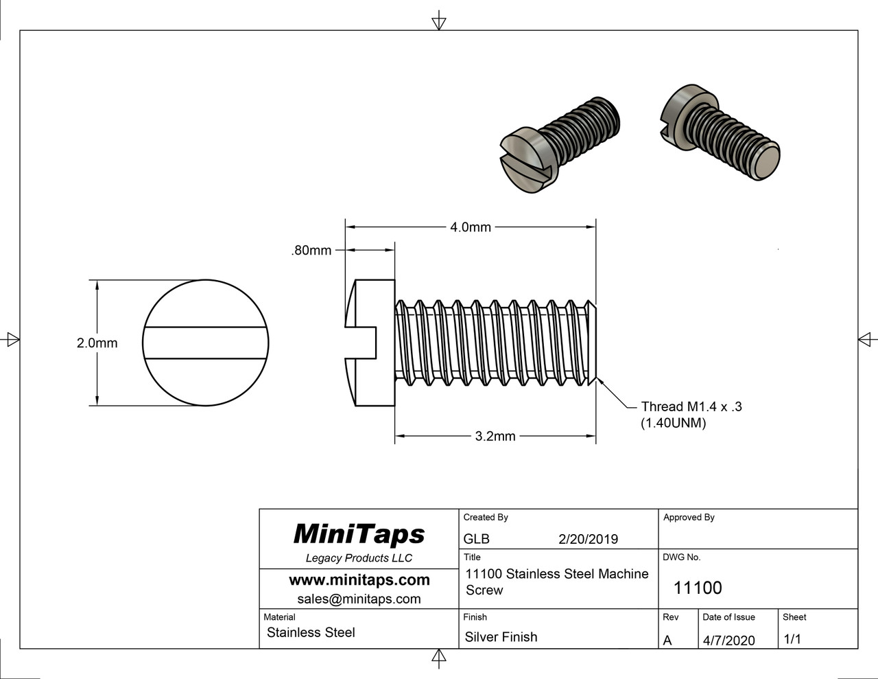 """Machine Screw Special, Small Head     Thread M1.4 (1.40UNM,) Pitch .30mm, Overall Length (OAL) 4.0mm, Threaded Length (Shank) 3.2mm / 1/8"""" max, Head 2.0mm     Stainless Steel, Finish Color Silver  Made on precision screw machines.     Price is for 100 count package with bulk pricing available.     Please contact sales@minitaps.com for bulk pricing pricing or any additional questions or information."""