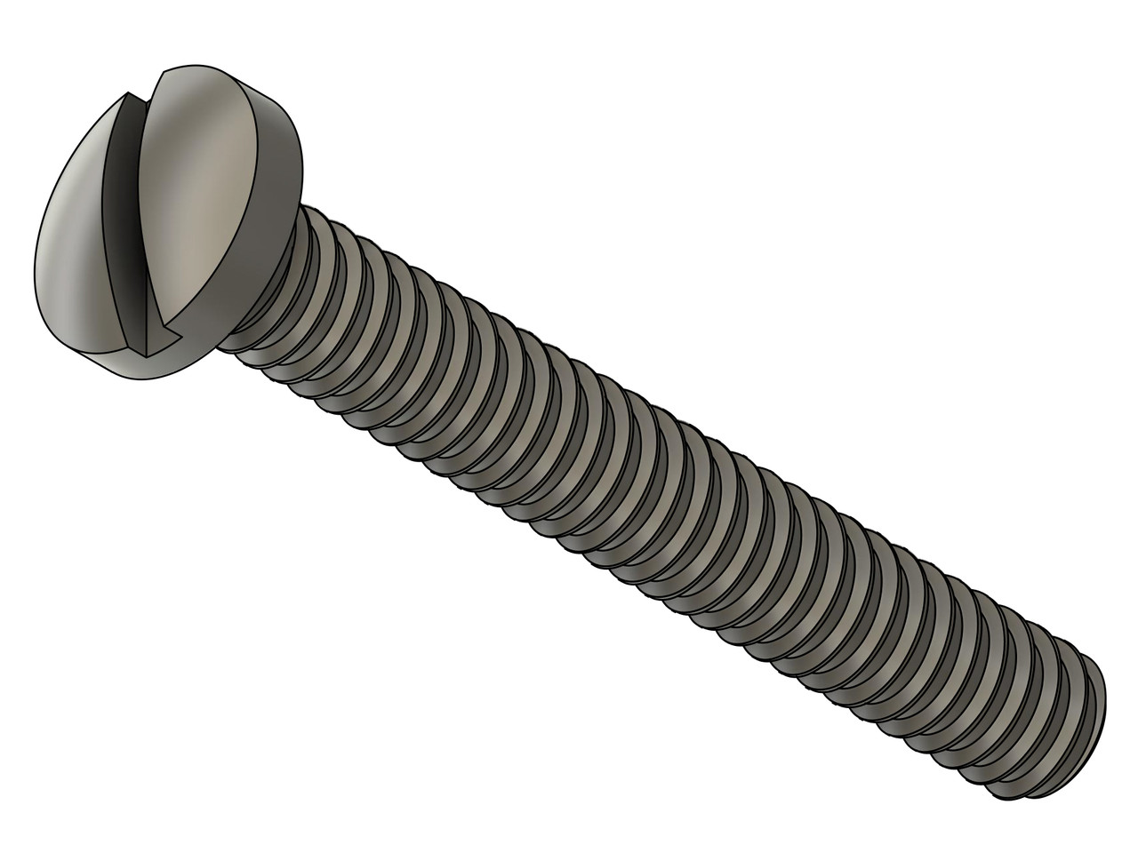 """Machine Screw Special  Thread M1.4, Pitch .30mm, Head Diameter 2.5mm, Threaded Length 9.7mm (3/8""""), Overall Length 10.5mm Material Stainless Steel, Finish Color """"Silver""""   Note: Thread is at maximum for M1.4 Thread.  This screw was designed for tight fit like class 3 fit instead of standard class 2.   Price is for 100 count package with bulk pricing available."""