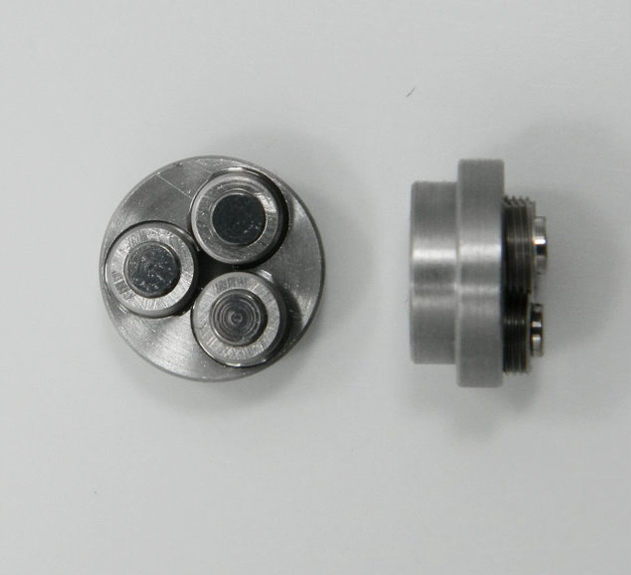 Metric Thread forming roll die M1.40 also called 1.40UNM Habegger brand style: Non-Adjustable body diameter 8mm  / 10mm, Total Height 5.90mm with  three Rollers made of High speed Steel then hardened. Image is representative of part in our stock.  Holder is item # 1509