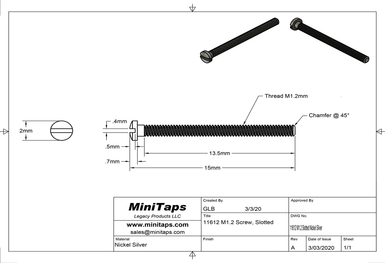 """Machine Screw Slotted Thread M1.2 (1.20UNM) 13.5mm Threaded Length 15mm Overall Length 2.0mm Head Nickel Silver, """"Silver"""" Finish We have Hex Nuts p/n:11422 and Acorn Nuts p/n: 11442 for this thread Made on precision screw machines. Price is for 100 count package"""