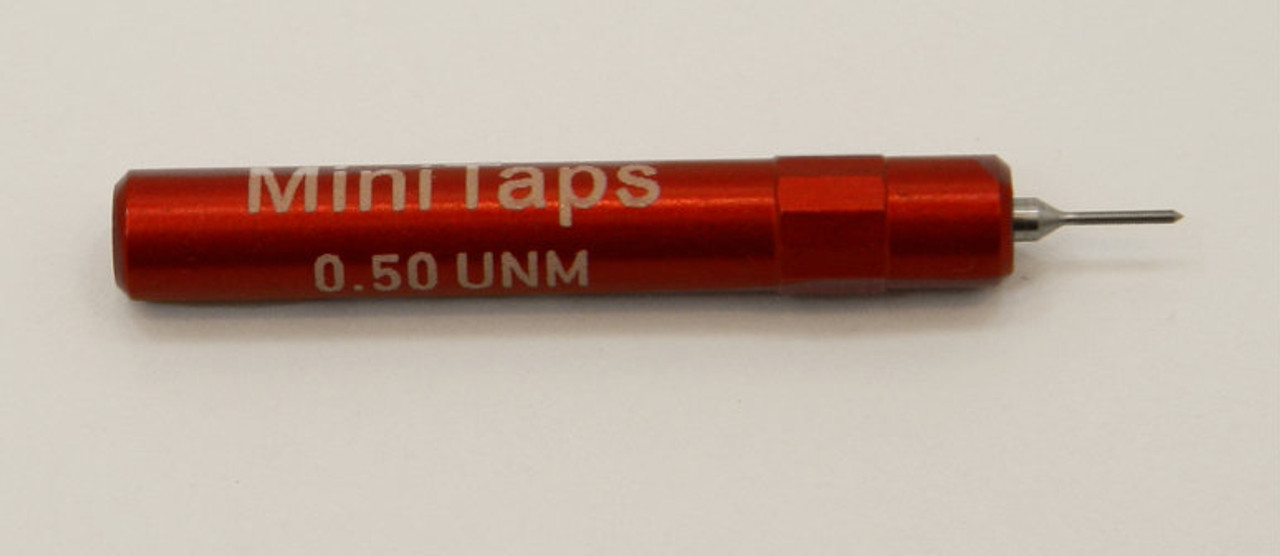 "0.50UNM Plug No-Go Gage pitch .125mm; UNM stands for ""United National Miniature"" the American Metric miniature Thread standard. Precision Thread Gage made of High Speed Steel then hardened. Picture is representative of part,  We have two pieces in stock.  Brand is;"" MiniTaps"" made specifically for us in Switzerland."