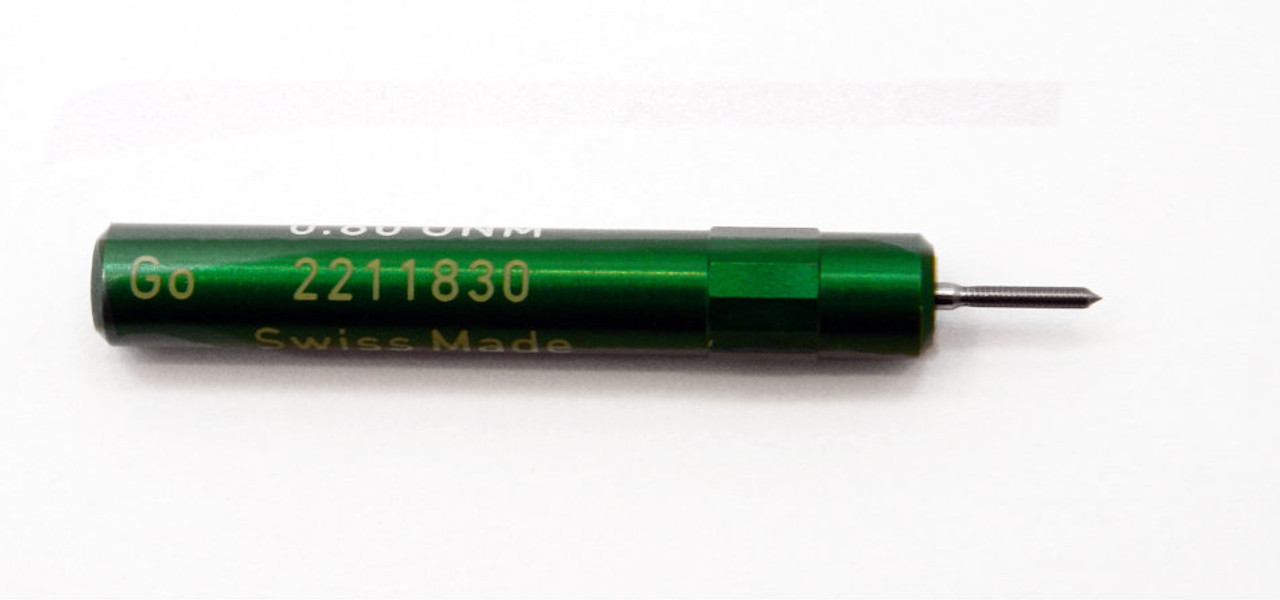 "0.80UNM Plug Go Gage .20mm; UNM stands for ""United National Miniature"" the American Metric miniature Thread standard. Precision Thread Gage made of High Speed Steel then hardened. Picture is representative of part,  We have two pieces  in stock.  Brand is;"" MiniTaps"" made specifically for us in Switzerland."