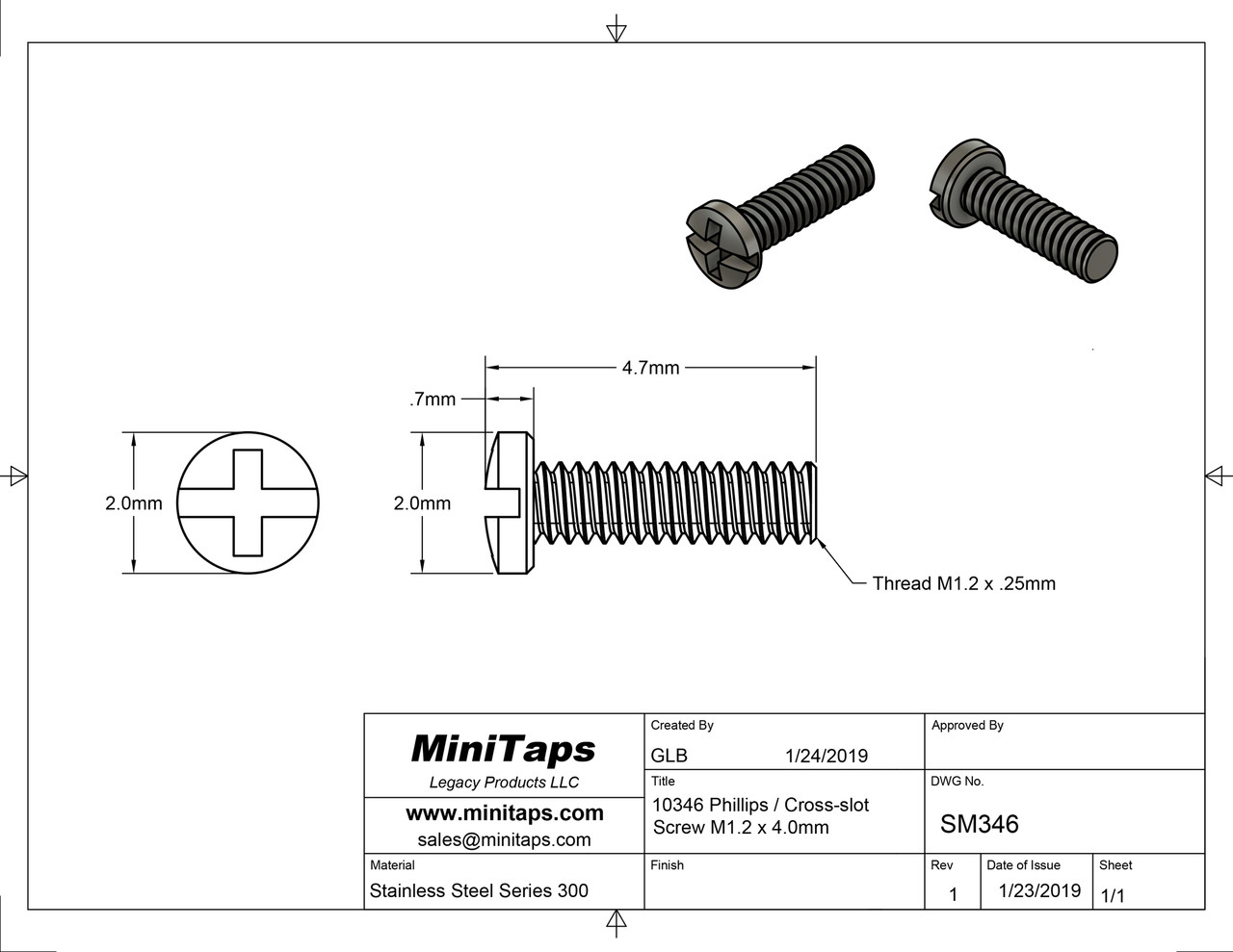 Machine Screw Pan Head with Philips X-Slot Drive  Thread M1.2 (1.20UNM), Pitch .25mm, Threaded Length 4.0mm, Overall length 4.7mm, Head 2.0mm  Stainless Steel  Price is for 100 count package with bulk pricing available.   Please contact sales@minitaps.com for any additional questions or information.