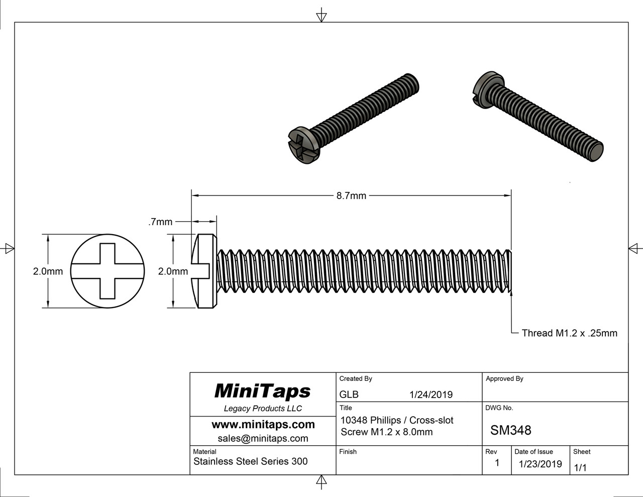 Machine Screw Pan Head with Philips X-Slot Drive   Thread M1.2 (1.20UNM), Pitch .25mm, Threaded Length 8.0mm, Overall length 8.7mm, Head 2.0mm   Stainless Steel   Price is for 100 count package with bulk pricing available.   Please contact sales@minitaps.com for any additional questions or information.