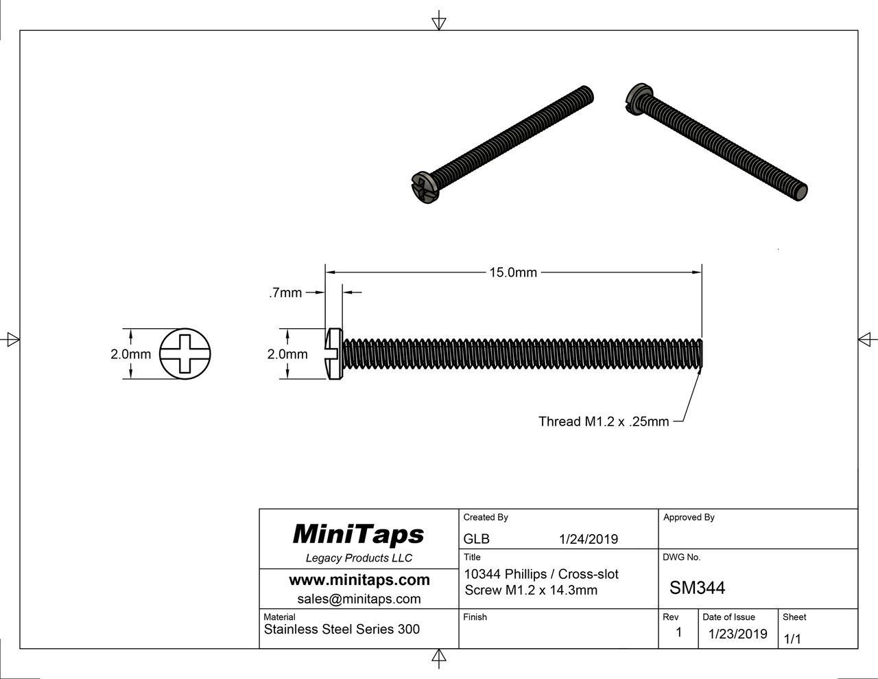 Thread M1.2  also 1.20UNM pitch .25mm Shank length 14.3mm Machine Screw Pan /Cheese Head (modified) with Philips X-Slot drive overall length 15.mm stainless steel in 100 count package, Please note for orders ten units and above  (1,000 pieces) packaged in bulk plastic bag.