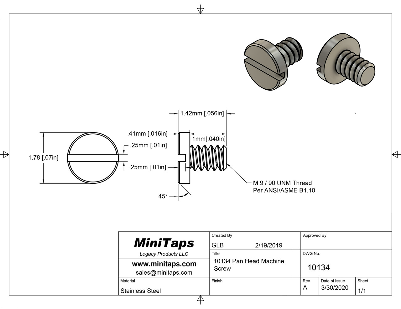 """Pan Head Machine Screw  Thread M.9 (90UNM), 1mm [.040""""] Threaded Length  Instrument grade part made of stainless steel. Made on a precision screw machine and not cold headed. Traceable and with certification.  Price is per 100 count with bulk pricing available. Please contact sales@minitaps.com for any additional questions or information."""