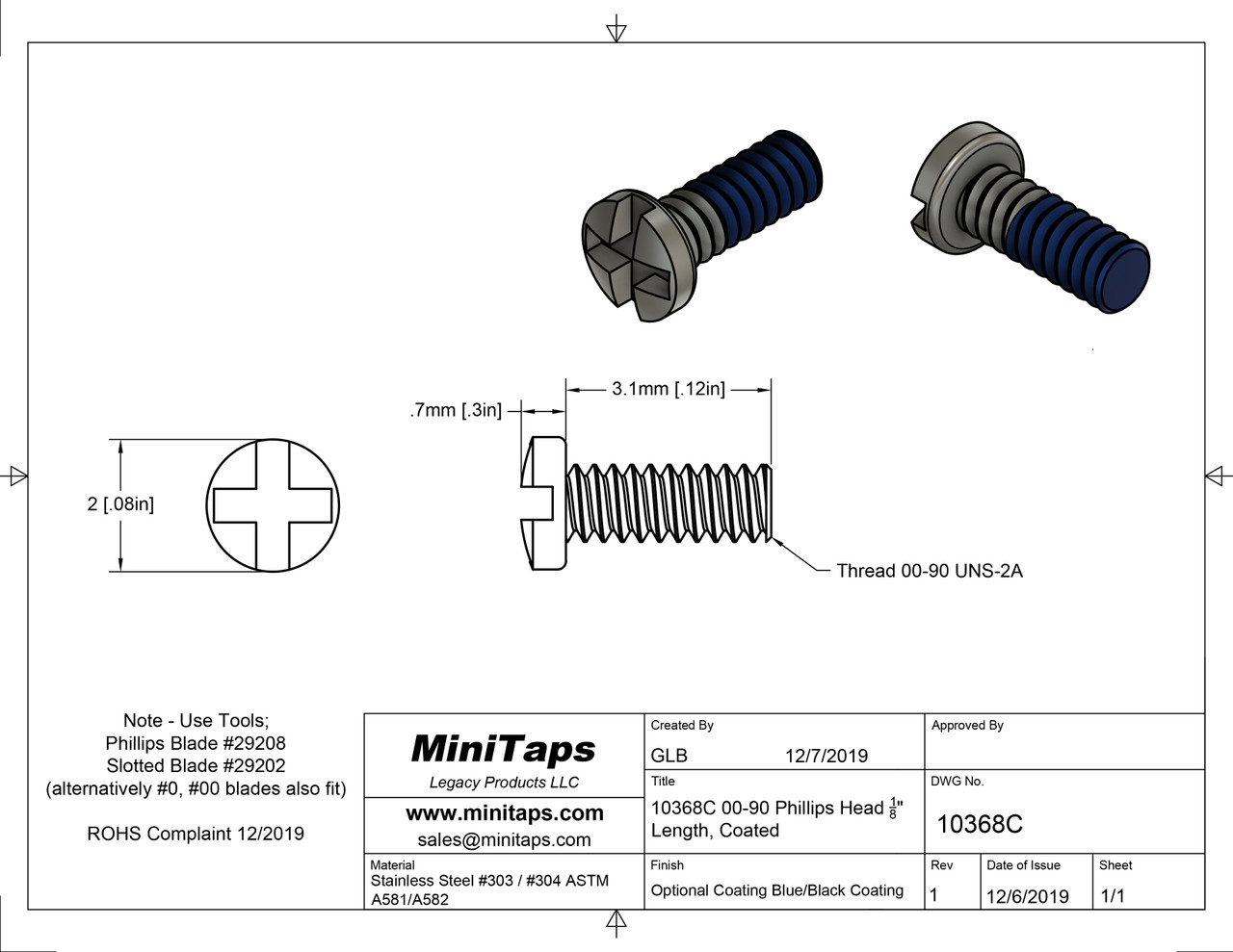 "Thread 00-90 2A Length, under bearing surface (head), 1/8"" (3.1mm) Machine Screw Pan Head with Cross Recessed typically called Philips and Slotted overall length 3.8mm, Head diameter maximum 0.078"" (2.00mm) stainless steel with Blue coated thread, packaged in 100 count package, Please note for orders ten units and above  (1,000/5,000 pieces) packaged in bulk plastic bag. Reference for specifications is ANSI/ASTM 18.6.3  The uncoated version see item #10368."