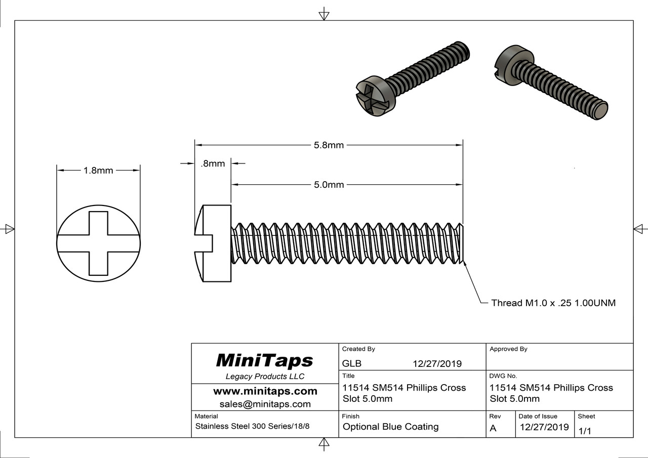 Machine Screw Pan Head Slotted with Phillips (Cross-Recess) Drive  Thread M1.0 (1.00UNM,) .25 Pitch, Threaded Length 5.0mm, Overall Length 5.8mm, Head 1.8mm  Stainless Steel, Silver Finish.   Made on precision screw machines.    Price is for 100 count package with bulk pricing available.    Please contact sales@minitaps.com for bulk pricing pricing or any additional questions or information.