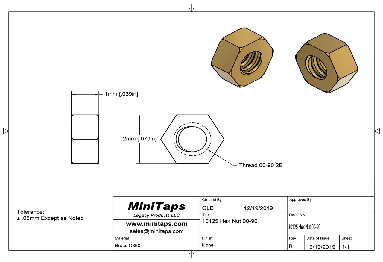 """Machined Hex Nut 00-90 Thread ACF 5/64"""" (across the flats) 2.00mm / .079"""" Thickness .040"""" / 1.00mm Material: Brass #360 Packaged in 100 Count Bag/Vials"""