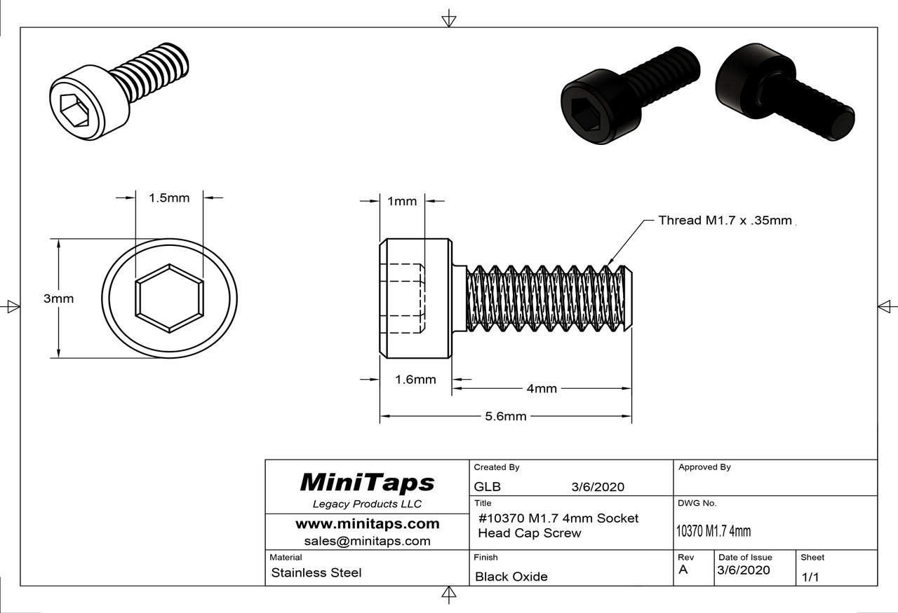 Precision Socket Cap Machine Screw M1.7 x 0.35mm Thread 4mm Length Material Stainless Steel Black Oxide Finish Packaged in 100 Count Vials/Bags
