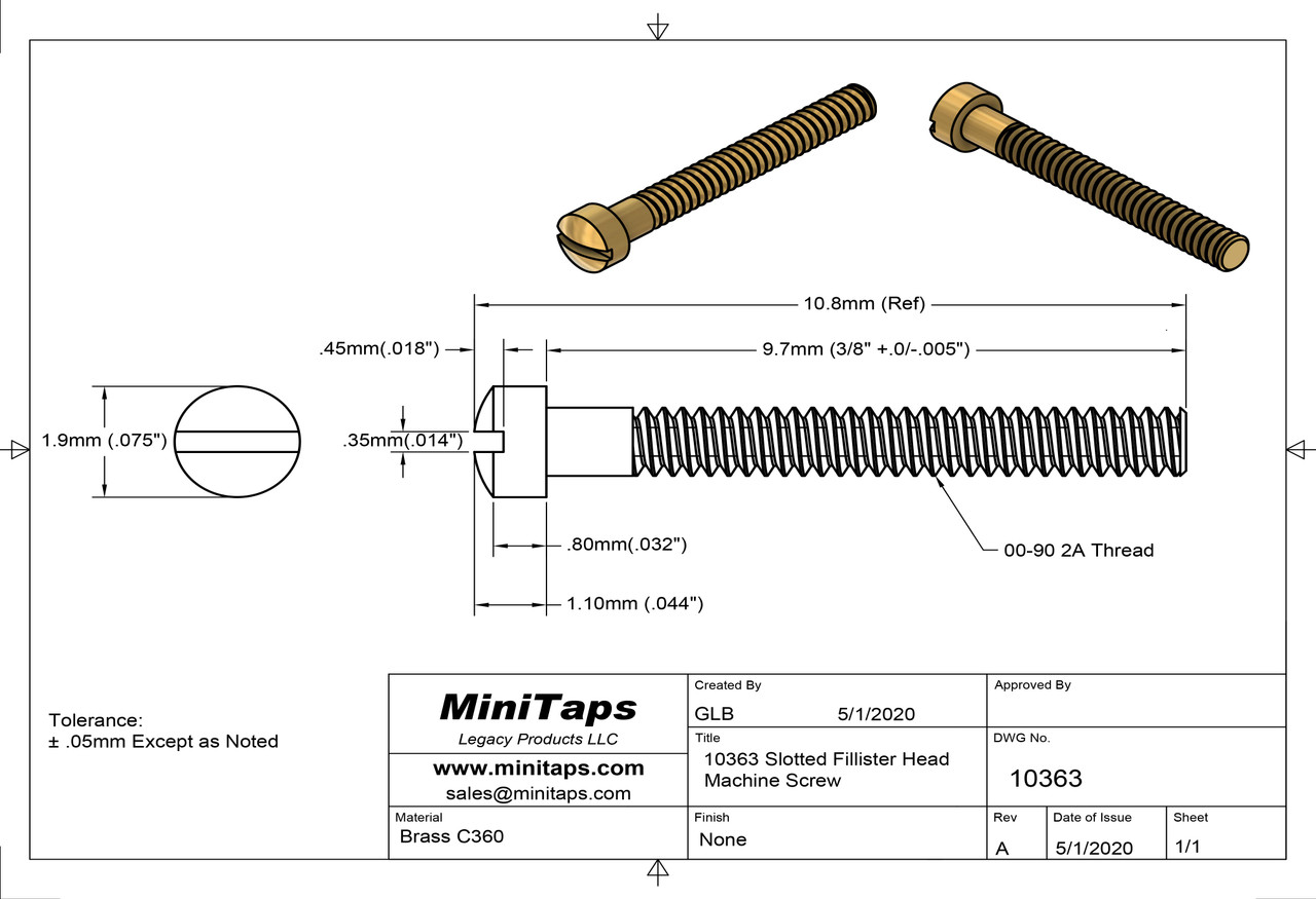 """Machine Screw, Slotted Fillister Head Thread 00-90 (0.046"""",) Head Diameter .075"""", Overall Length (OAL) .425"""" (10.8mm,) Threaded Length 3/8"""", Material: Brass #360 packaged in 100 count bags/vials  Matching Hex Nut #10125"""