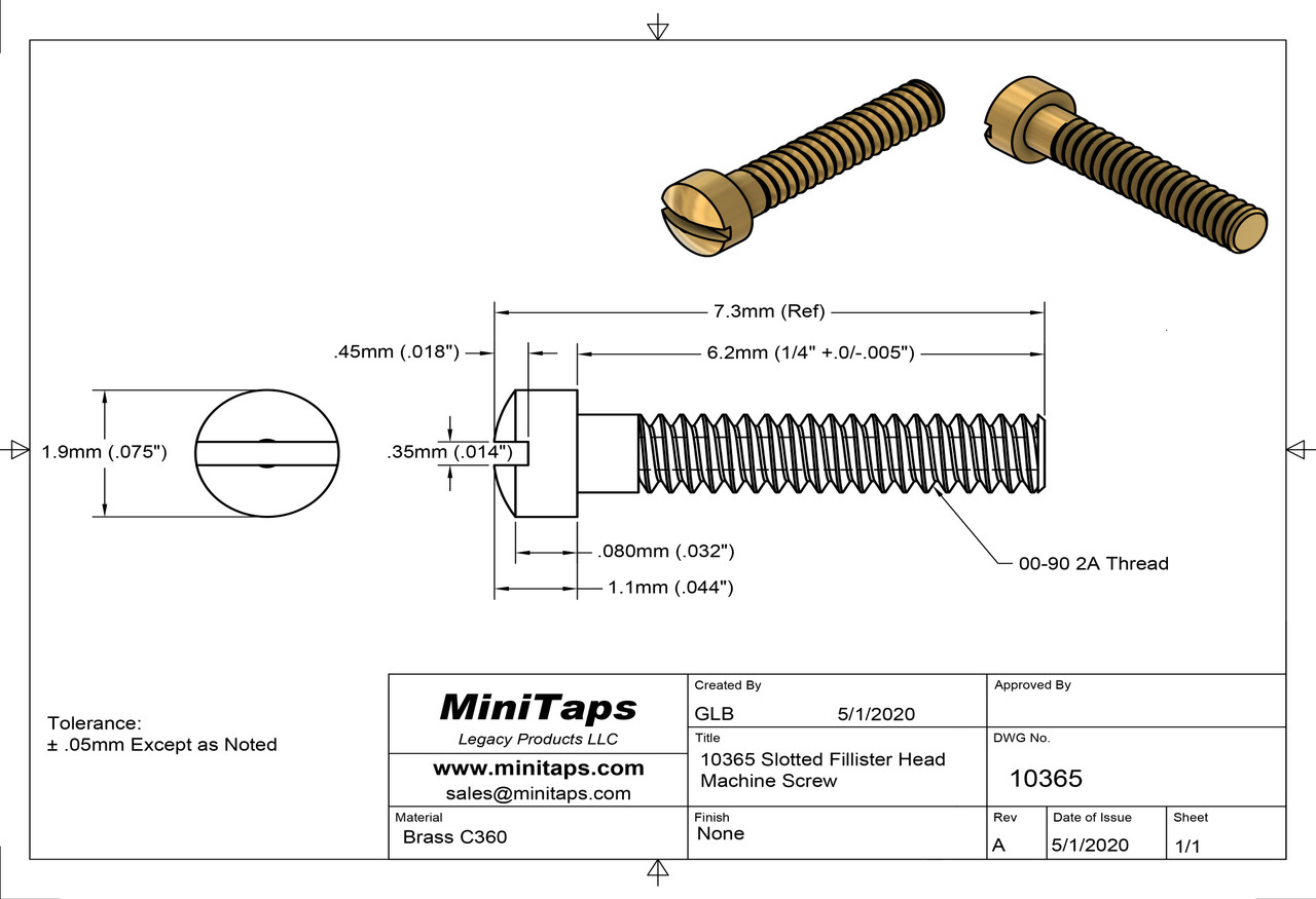 """Machine Screw, Slotted Fillister Head Thread 00-90  2A (0.046"""") Head Diameter .075"""" Overall Length (OAL) .287"""" (7.3mm) Threaded Length 1/4"""" Material: Brass #C360 Packaged in 100 Count Bags/Vials"""