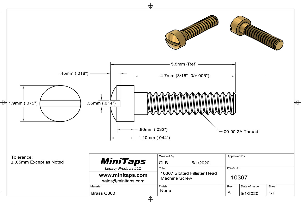 """Machine Screw, Slotted Fillister Head Thread 00-90 (0.046"""",) Head Diameter .075"""", Overall Length (OAL) .228"""" (5.8mm,) Threaded Length 3/16"""" (4.7mm) , Material: Brass #360 packaged in 100 count bags/vials  Matching Hex Nut #10125"""