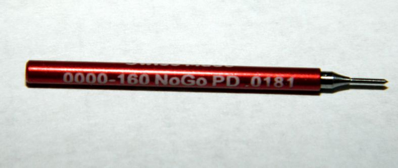 """0000-160 3B Plug No-Go Gage UNS stands for (American) """"National Standard"""" miniature Thread series. This gage is one piece handle containing """"Go"""" Precision Thread Gage made of High Speed Steel then hardened. Please note that this gage is made to the tighter 3B  Picture is representative of this item in our stock.  Brand is;"""" MiniTaps"""" made specifically for us in Switzerland.  Factory measurements as our cert included in price."""