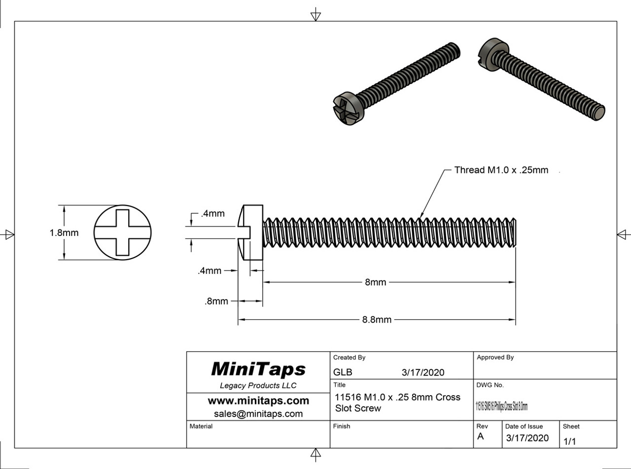 """Machine Screw Pan Head Slotted with Phillips (Cross-Recess) Drive Thread M1.0 (1.00UNM) .25mm Pitch Threaded Length 8.0mm Overall Length 8.8mm Head 1.8mm Stainless Steel, """"Silver Finish"""" Made on Precision Screw Machines. Price is for 100 count package with bulk pricing available.   Please contact us for bulk pricing pricing or any additional questions or information."""