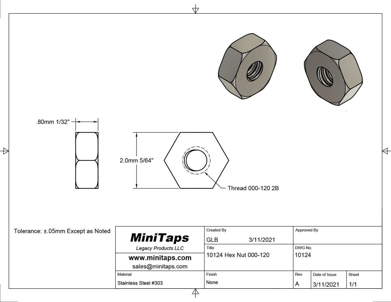 """Machined Hex Nut Thread 000-120 ACF 5/64"""" (across the flats) 2.00mm  Thickness 1/32"""" / 0.80mm Material: Stainless Steel Part Color Finish is Silver Price is for 100 count package with bulk pricing available."""