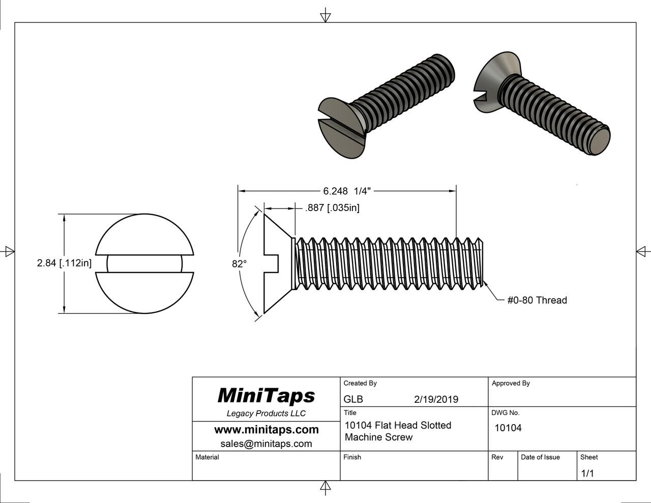 Drawing of #10104 0-80 2A Flat Head Machine Screw