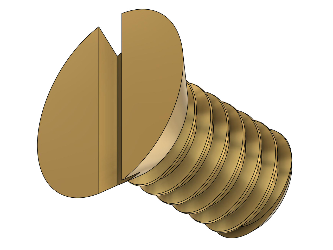 """1-72 Flat Head Slotted Machine Screw, Length 1/8"""" Full thread to under head. Brass Price is for 100 pieces."""