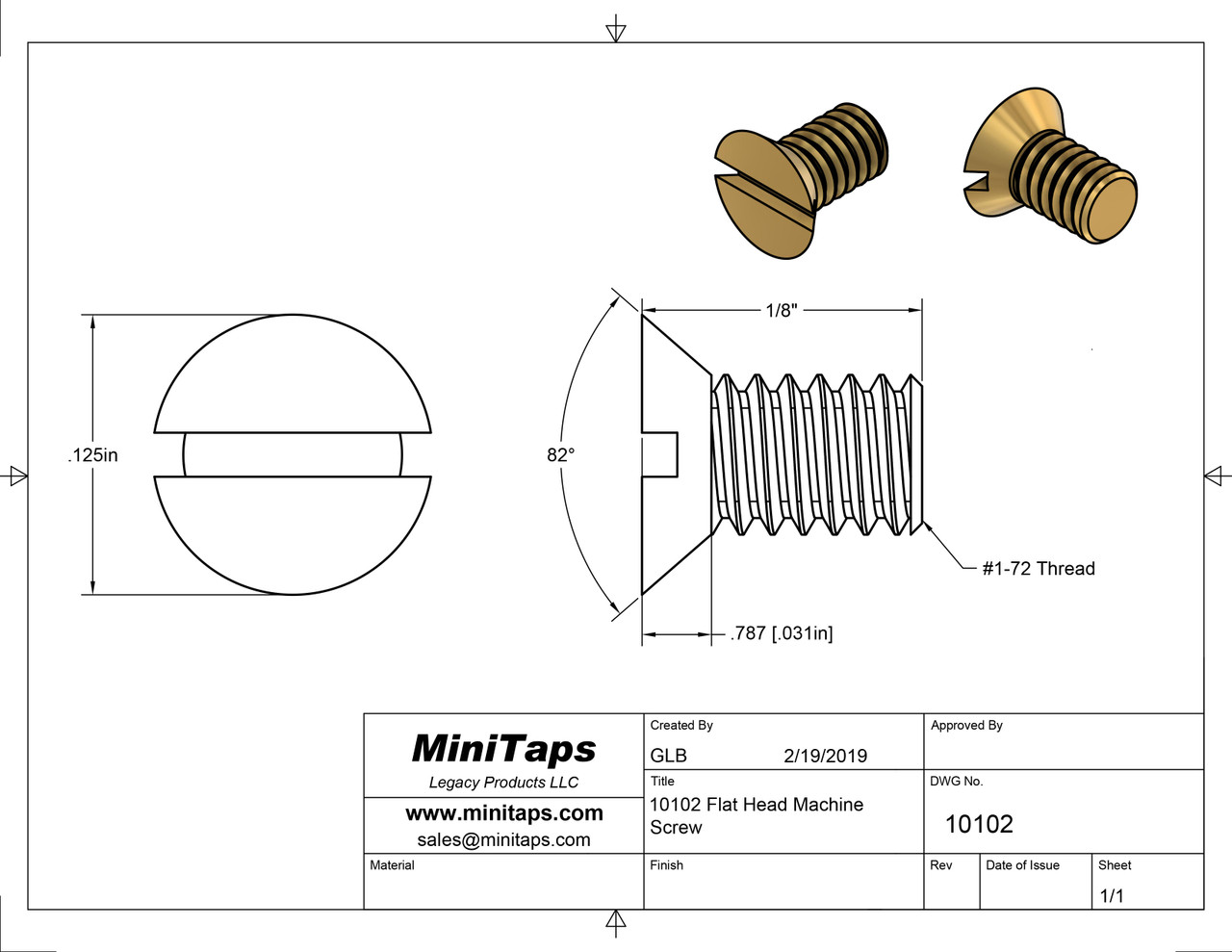 """1-72 Flat Head Slotted Machine Screw, Length 1/8"""", Full Thread to Under Head, Brass, Price is for 100 Pieces."""