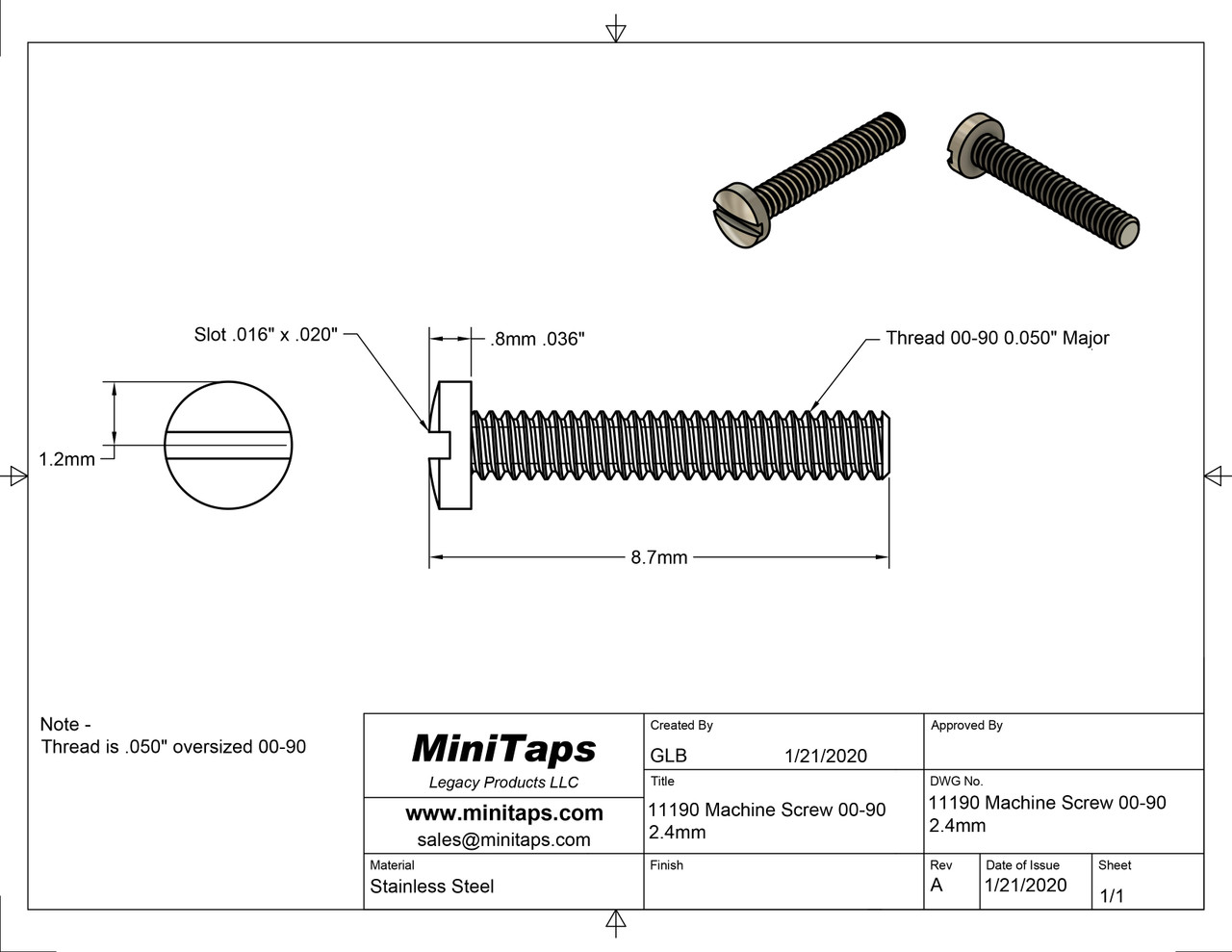 """Machine Screw Oversized Thread 00-90 (0.050"""") Head Diameter 2.5mm / 0.098"""" Overall Length (OAL) is 8.8mm / 0.346"""" Material: Nickel Silver, a premium copper alloy resistant to tarnish and often used in jewelry and eye wear. Part Color Finish is Silver Matching/Mating Hex Nut #11120. Please note this has an over-sized thread major of .050"""" vs the standard thread major of .046"""" Price is for 100 count package"""