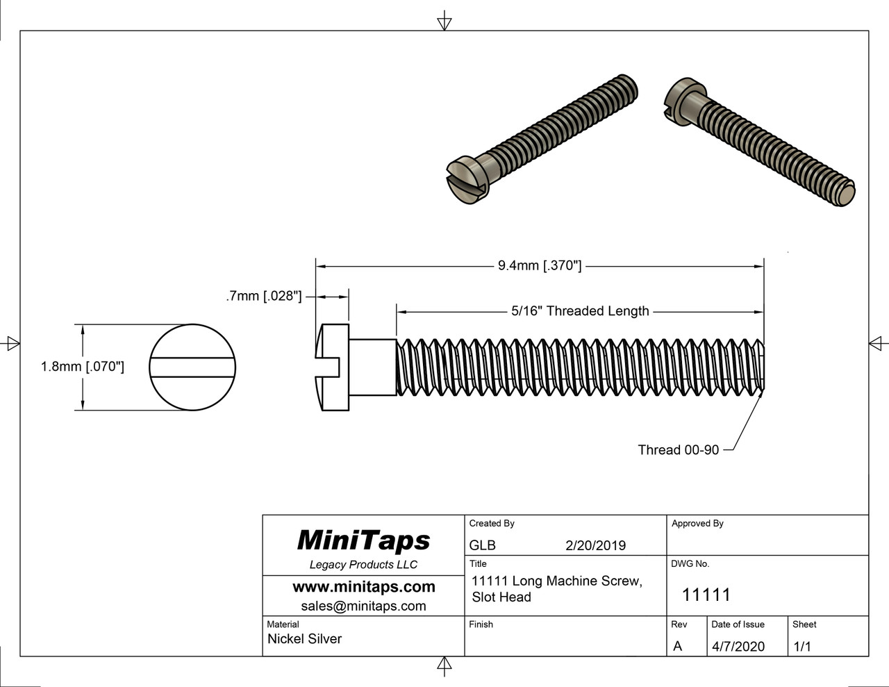 """Machine Screw  Thread 00-90 (0.046"""",) Overall Length (OAL) 9.4mm, Threaded Length 5/16"""", Head diameter 1.8mm  Material: Nickel Silver, a premium copper alloy resistant to tarnish and often used in Jewelry and eyewear.  Part Color is Silver  Also available in Gold color finish (11111G)  Matching hex nut # 11101 or 11101G in gold.   Price is for 100 count package with bulk pricing available. Please contact sales@minitaps.com for bulk pricing pricing or any additional questions or information."""