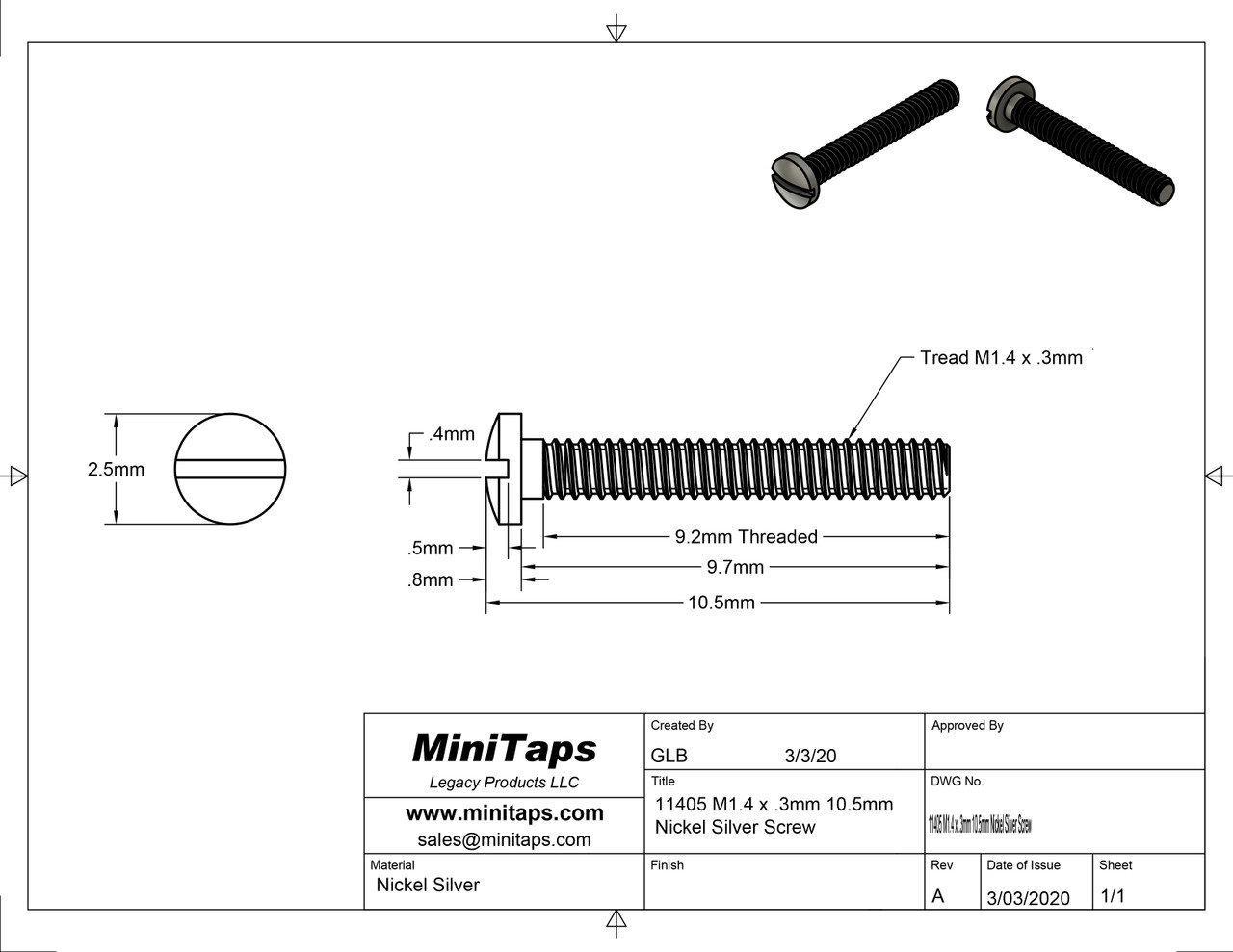 """Machine Screw, Pan Head, Special,   Thread M1.4 (1.40UNM), Pitch .30mm, Head diameter 2.5mm, Threaded Length 9.7mm (3/8""""), Overall Length 10.5mm,   Material Nickel Silver; a copper alloy superior to brass. Finish Color """"Gold""""   Price is for 100 count package with bulk pricing available.   Please contact sales@minitaps.com for bulk pricing pricing or any additional questions or information."""