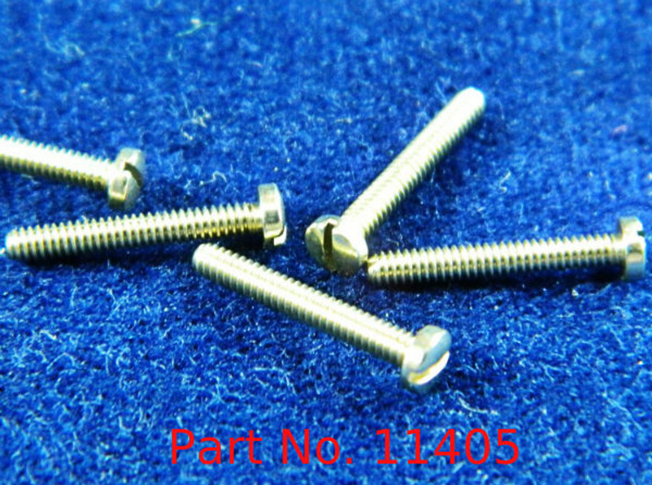 """Machine Screw, Pan Head, Special, Thread M1.4 (1.40UNM) Pitch .30mm Head diameter 2.5mm Threaded Length 9.7mm (3/8"""") Overall Length 10.5mm Material Nickel Silver; a copper alloy superior to brass.  Finish Color """"Silver"""" Price is for 100 count package with"""