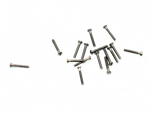 """Machine Screw Modified Pan Head Thread M1.4 (1.40UNM) Pitch .30mm Head Diameter 2.5mm Threaded Length 9.7mm (3/8"""") Overall Length 10.5mm Material Stainless Steel, Finish Color Silver Price is for 100 count package"""
