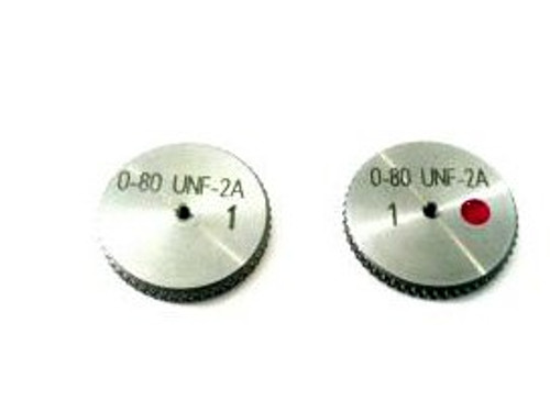 Thread Ring Gage 0-80 class UNF-2A; Set go and No-Go members Precision Thread Gage made of High Speed Steel then hardened. Picture is representative of part,