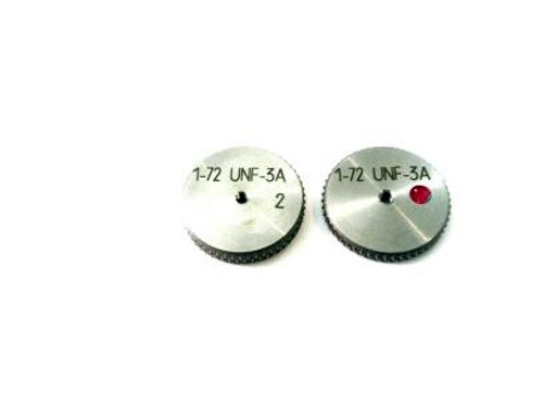 Thread Ring Gage 1-72 class UNF-3A; Set with Go & No-Go members Precision Thread Gage made of High Speed Steel then hardened.