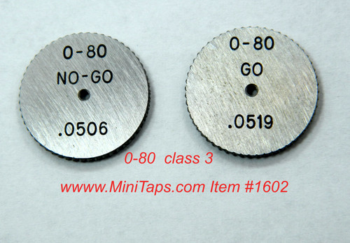 Thread Ring Gage Set 0-80 class UNF-3A; One each Go & No-Go members Precision Thread Gage made of High Speed Steel then hardened. Picture is representative of part,  We have 3 sets only.  Brand is; DC Swiss  Gage diameter is 16.4mm