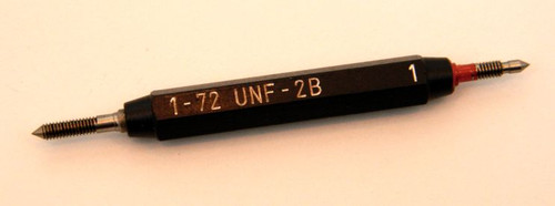 Thread Plug Gage 1-72 class UNF-2B;  Set  Go and No-Go Precision Thread Gage made of High Speed Steel then hardened. Made in Switzerland  Picture is of our stock